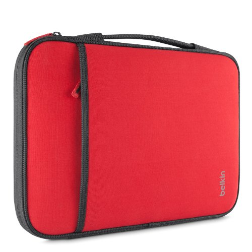 Belkin Slim Protective Sleeve with Carry Handle and Zipped Storage for Chromebooks, Netbooks and Laptops up to 11 inches – Red