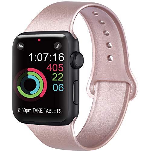 AK Cinturino Compatibile per Apple Watch Cinturino 44mm 42mm 38mm 40mm, Cinturino Sport in Silicone Cinturino Uomo e Donna per iWatch Serie 5 4 3 2 1 (#Oro Rosa, 38/40mm S/M)