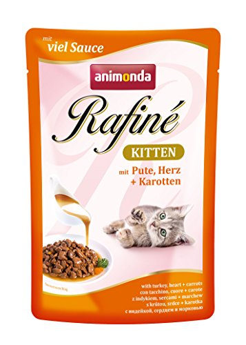 animonda Rafiné Kitten Katzenfutter, Nassfutter für Katzen im Wachstum, mit Pute, Herz + Karotten, 12 x 100 g