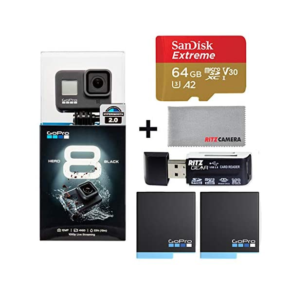 GoPro Hero8 Black Action Camera with Accessory Bundle – Sandisk 64gb U3 Memory Card, 2 X GoPro USA Batteries and Cleaning Cloth