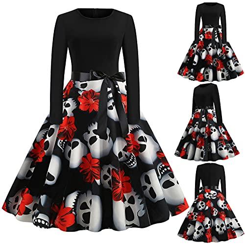 2021 vestidos de fiesta de cóctel vintage de manga larga para Halloween, vestido de fiesta de los años 50, vestido de fiesta de Halloween, 28#, M