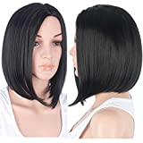 Aligogo Bob Wig 2 Tones Synthetic Fiber Wigs Medium Length Curly Bob Cap For Women 1b# to Brown Side Part 12inch (Bobo wig/1B#)