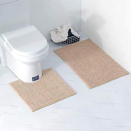 Big Bargain Store 2-teiliges Badteppich-Set Langlebige Toilettenmatte Rutschfeste einfarbige Sockelmatte Waschbare Badematten aus Chenille Toilettenpapier mit U-förmiger Kontur Abnehmbare Matte
