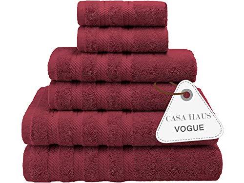 Casa Haus Mode Sammlung - Zero-Twist, luftweich, 6-teiliges Handtuchset, 2 Badetücher, Handtücher 2, 2 Waschlappen, Hotelqualität, Handtuchgeschenkset - (Radfahren rot)