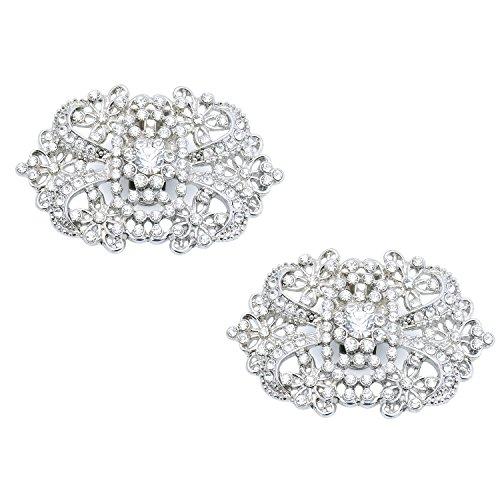 Duosheng & Elegant CJ Diamante espumoso Pinzas para zapatos Diseño floral Diamantes de imitación Boda Noche Fiesta de baile Zapato Decoraciones Accesorios Regalo Plateado 2 piezas