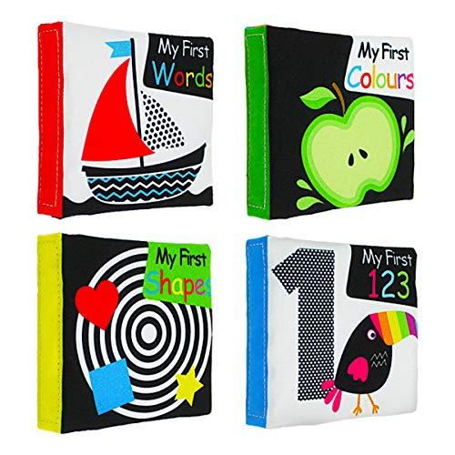 lijun Baby First Soft Juego de Libros de Tela para Actividades, Paquete de Libros Blandos interactivos de Alto Contraste en Blanco y Negro para bebés, bebés temprano