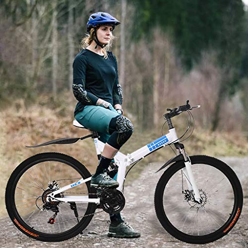 POROPL Mountain Bike,26 Inch Mountain Bike with 21 Speed Dual Disc Brakes Full Suspension Non-Slip,Full Suspension, Geared Bicycle for Adults and Teens(White)