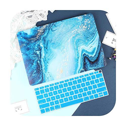 Peach-Girl Marble Shell Case for Macbook Air Pro Retina 11 12 13.3 New Book Mac 13 15 Bar Touch Screen 2020 A2289 A2251 A1932 A2179 + Keyboard Cover Dark Blue Model A1278