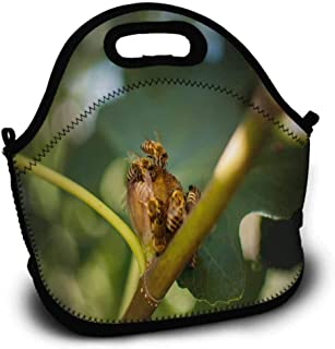HMdy88PT Bees on Medlar Large Lunch Bag W11xL11