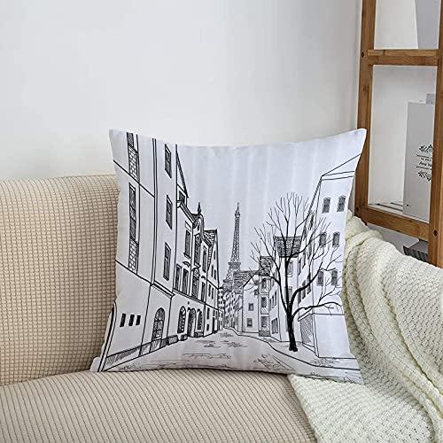 Fundas de cojines sencillas y clásicas de 45 x 45 cm,Wanderlust Set, Paris Street con casas edificios y árboles,ideales para casa, oficina o para la espalda en el coche - Fundas de Poliéster para sofá