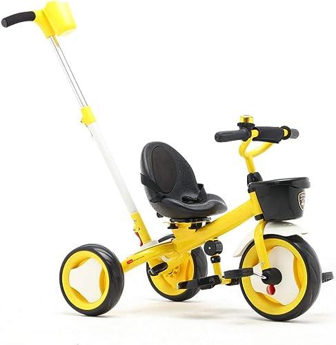 FAMILI DA Kinderwagen Trike Kinder 3 Rad Kinder Dreirad Jungen und mädchen 3-Wheeler Für Neugeborene (Farbe   Orange)-Gelb