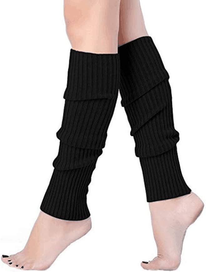 1Pair Unisex Ribbed Knitted Leg Warmers Long Socks for Party Jogging Sports Dancing Yoga Black