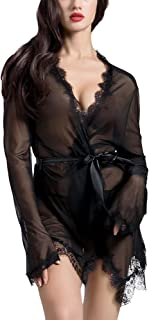 JB Lace Sheer Trim Lingerie Robe with G-String Panty, 2 Pieces
