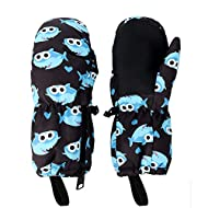 Kids Winter Ski Snow Mittens Waterproof Warm with Zipper for Toddler Boy Girl- Slim Fit for Skiing ((M, 5-7 Years), Shark Without Wristband)