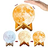 3D Moon Night Lightn for Friendship Lamps,Dimmable Floor Lamp Touch Control & USB Charging 3 Colors(Warm, White, Yellow).Luna Lamp Home Decorative for Christmas Night Light(5.9Inch)