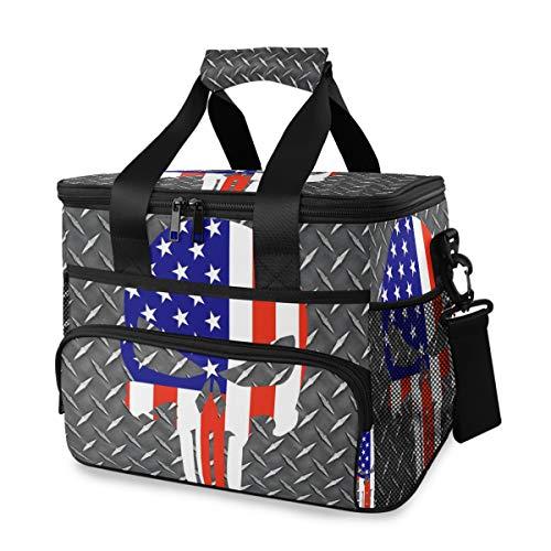 Schouderriemhouder, draagbaar, coole Amerikaanse vlag, schedel picknick, koelbox, lunchtas