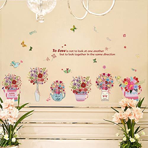 Flores de colores Pegatinas de pared Planta en maceta Cesta