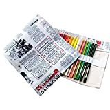 NUOBESTY tela creativa rotolamento portatile fatto a mano rotolare portamatite avvolgere matite portamonete organizzatore con 48 fori per studente di ufficio (nespaper inglese)
