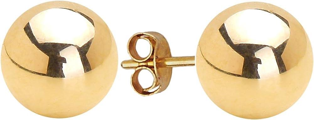 14k Yellow Gold 2-8mm Plain Hollow Gold Ball Children Friction Girls Pushback Earrings
