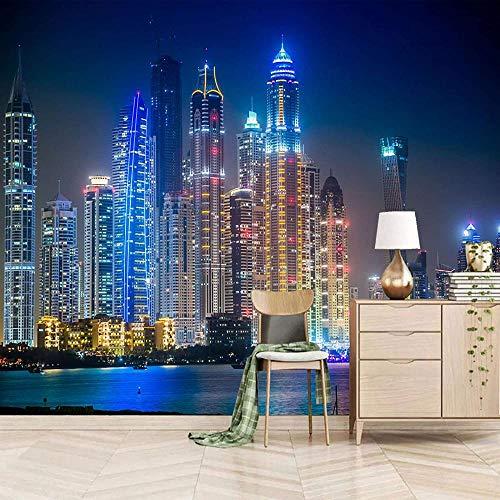 Cielo nocturno ciudad mural arquitectónico ciudad decoración del hogar dormitorio habitación de los niños mural papel tapiz simulación pintura artística-400x280cm