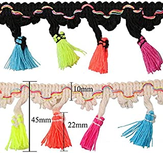 Yalulu 5 Yards Rainbow Tassel Lace Trim Cotton Fabric Ribbon Fringe Drop for Dress Skirt Extender Curtain Home Decor DIY Craft Supply (Black)