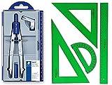 Pack/Set-Compás Escolar de Precisión Staedtler 550 + Conjunto con: Escuadra, Cartabón, Regla y Semicírculo, Color Verde (01)