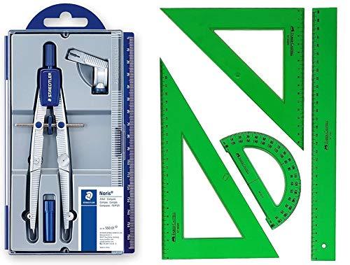 Pack/Set-Compás Escolar de Precisión Staedtler 550 + Conjunto con: Escuadra, Cartabón, Regla y Semicírculo, Color Verde (3)