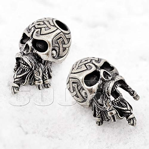 CooB EDC Paracord Bead Beads Bearded Celtic Skull Biker Charm Pendant DIY Hand-Casted Beads Charms for Paracord Bracelet Knife Lanyard 1pcs/Lot (Celtic Skull Silver)