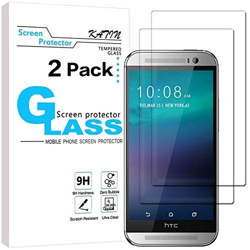 KATIN HTC One M8 Screen Protector - [2-Pack] 9H Hardness Tempered Glass For HTC One M8 Bubble free