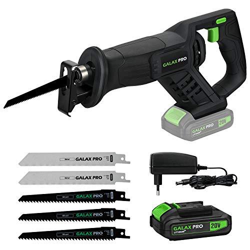 GALAX PRO Sierras de sable, Velocidad Regulable 0-3000SPM,Longitud de Carrera de 22mm y 150 mm máx Corte,20V con Batería de Litio de 2.0Ah, Incluye Cargador, 5 Hojas