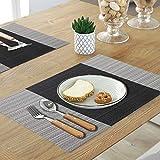 YOLOKE 6er Set Platzsets,waschbar rutschfeste Wärmedämmung gewebt Vinyl Tischsets für Küche Esstisch Tischsets 30x45cm (grau) - 3