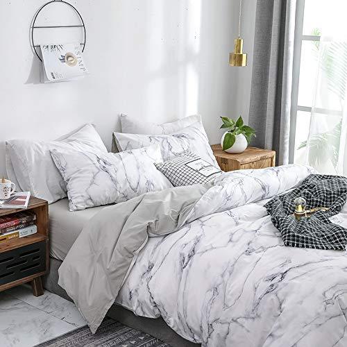 Luofanfei Baumwolle Marmor Bettwäsche 135X 200 2 Teilig Weiß Grau Bettbezug Atmungsaktive Baumwollbettwäsche mit Reißverschluss Zweiseitig Gedruckt (DLS-AB, 135 x 200 cm 80 x 80 cm)