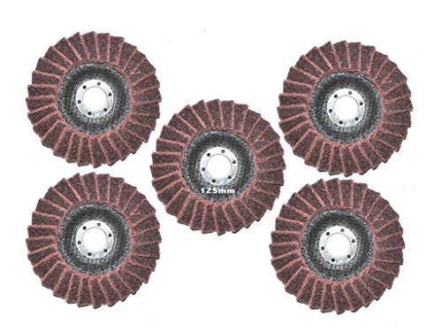 5 Stück 125mm Polierfächerscheibe Mittel/Medium Vlies Polierscheibe, 22.23mm, Polier Scheibe.