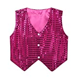 inhzoy Boys' Girls' Glittery Sequined Stage Performance Jazz Hip-hop Dance Costumes Vest Jacket Waistcoat Rose Red 9-10