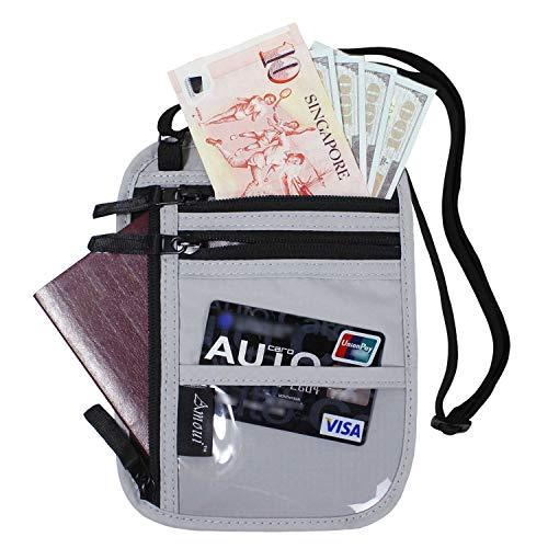 Amoui RFID Paspoort Houder Hals voor Vrouwen Mannen Multi-Purpose Reizen RFID Blokkeren Paspoort Portemonnee Anti-Diefstal