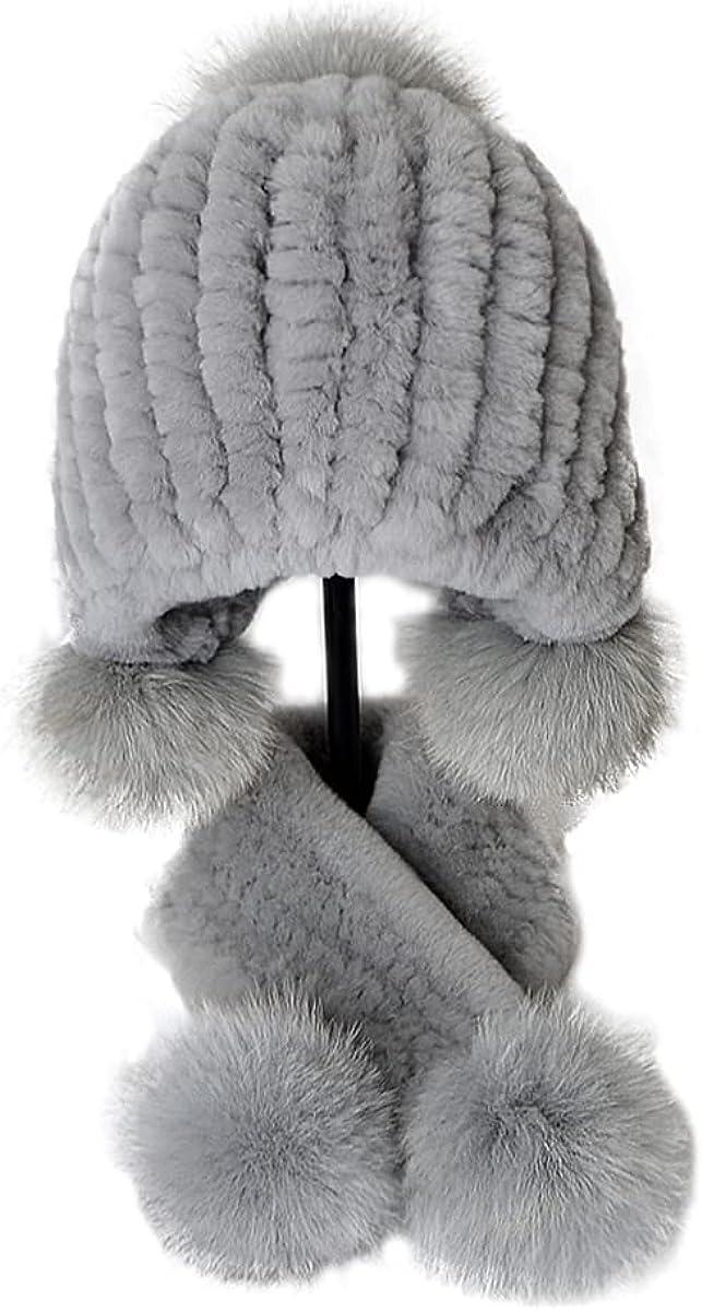 XUYUZUAU 2Pcs Kids Real Rex Rabbit Fur Hat Scarf Pompoms Cap Set Winter Outdoor(2-8 Years)