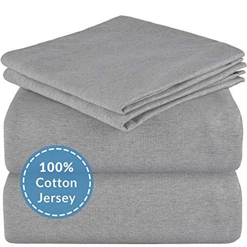 Mellanni Queen Jersey Sheet Set - 4 pc Luxury Heather 100% Cotton Bed Sheets - Soft, Comfortable, All Season Bedding - Deep Pocket - T-Shirt Sheets (Queen, Light Gray Heather)