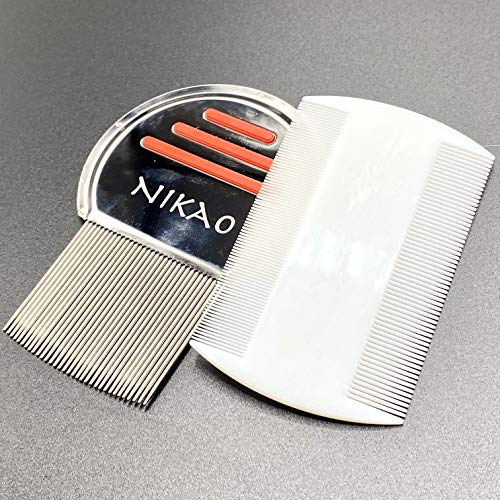 NIKAO Lice Comb. Set of Metal and Plastic Combs kit. Head Treatment for Removal of Dandruff, Bug, and Nit for Kids and Adult. Works with Thick, fine, Short or Long Hair.
