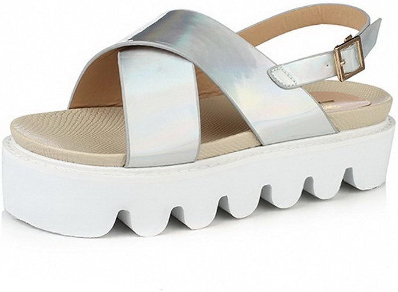 AmoonyFashion Women's Low-Heels Solid Buckle Open Toe Sandals