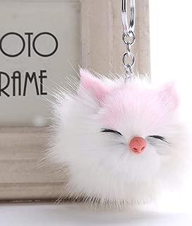 DALMSV Sleeping Owl Pompom Keychain Cute Animal Keyring Charm Fur Ball Pendants Car Key Chain Accessories Jewelry