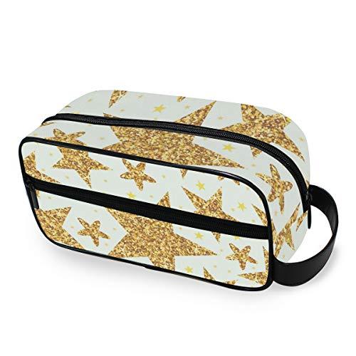 Maquillage Sac Trousse De Toilette Outils Cosmétique Train Case Portable De Stockage Golden Star Motif Sac À Main De Voyage