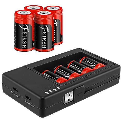 QUICKHELP Arlo Rechargeable 123A Batteries,8 Pack 3.7V 800mAh Battery and CR123A Charger for Arlo VMC3030 VMK3200 VMS3230 3330 3430 3530 Security Cameras,Flashlight,Microphone.
