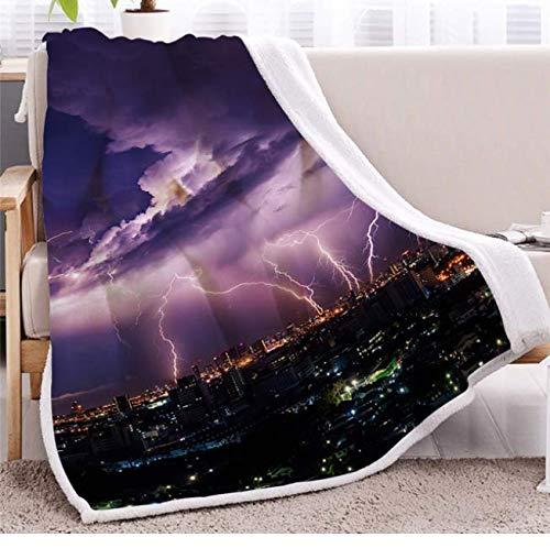 ZGWS Strike Bettdecken City Landscape Throw Blanket Storm 3D Lila Licht Bettwäsche Thunder Dark Clouds 150 * 200Cm