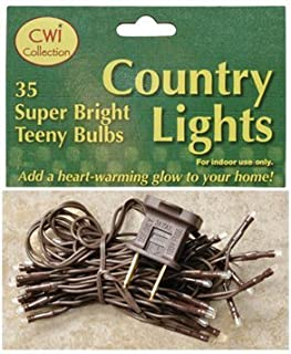 Teeny Bulbs Light Strand Brown Cord Country Primitive Craft Lighting Décor
