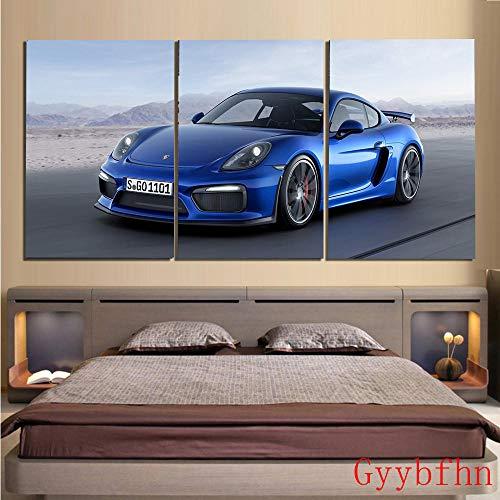 Bilder Porsche 911 Autolandschaft 50X70Cmx3(150X70Cm)Vlies Leinwandbild 3 Tlg Kunstdruck Modern Wandbilder Xxl Wanddekoration Design Wand Bild-Geschenk