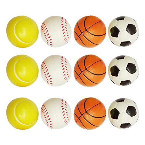 BOQIAN Familien-Outdoor-Sportball, Soft-Sportbälle Stressbälle Schaumbälle für Partys, Fußbälle, Basketball, Tennis und Baseball Interaktives Spielzeug (12 Stück)
