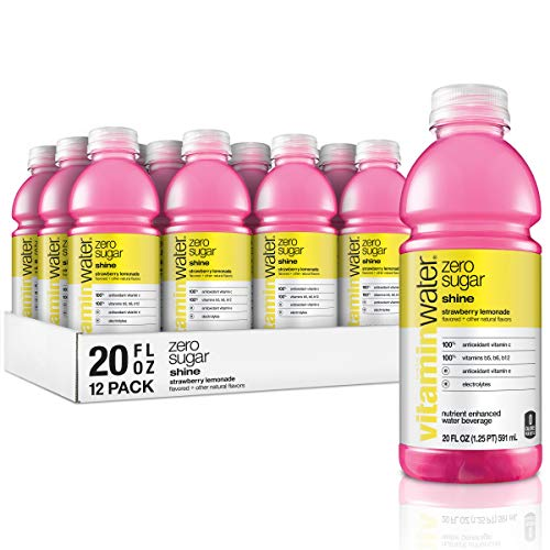 vitaminwater zero shine, strawberry-lemonade flavored, electrolyte enhanced bottled water with vitamin b5, b6, b12, 20 fl oz, 12 pack