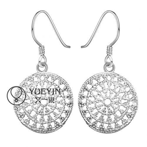 QFF Oorbellen, rond, zilverkleurig, eenvoudige oorbellen voor dames, roestvrij staal, hypoallergeen, zilverkleurig, kleine oorbellen met haken Come mostrato