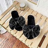 Zapatillas de Invierno de Interior,Zapatillas suaves de felpa con nudo de lazo cálido para mujer, zapatos de interior para el suelo, zapatillas de invierno para el hogar para mujer, negro EU 36-37