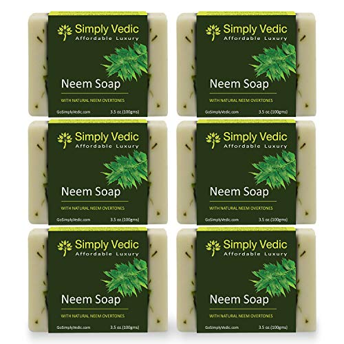 Simply Vedic 6-Pack Neem Oil Soap Bar For Body, Hand, Face. Made With Neem Oil, Vegan Cold Pressed With Coconut Oil, Hand-Made, Gift Set For Men/ Women (3.5 Oz. X 6).